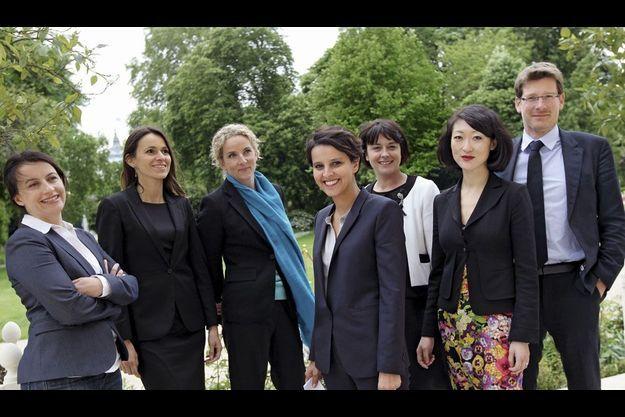Elysée, le 17 mai 2012. Les sept ministres du gouvernement Ayrault de moins de 40 ans sont réunis à l'issue du premier Conseil des ministres.