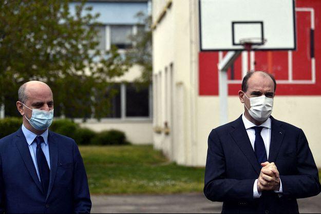 Jean -Michel Blanquer et Jean Castex, lundi à Laxou.
