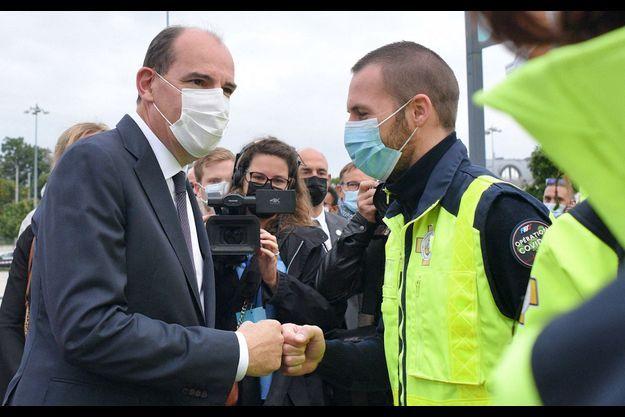 Jean Castex, en visite mardi à Illkirch-Graffenstaden (Bas-Rhin) dans un centre de vaccination mobile.