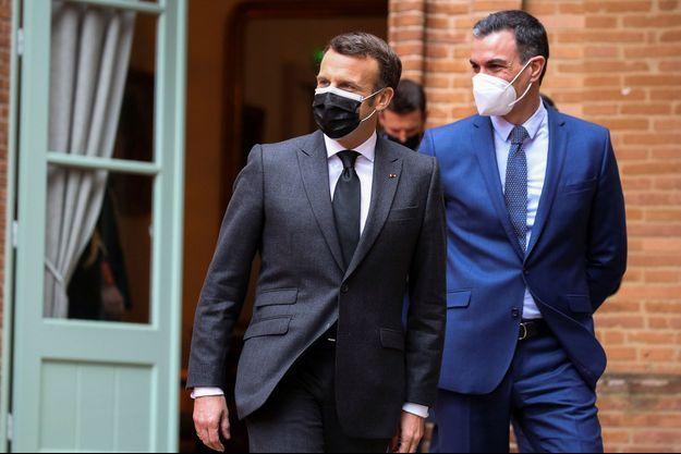 Emmanuel Macron et Pedro Sanchez lundi à Montauban.