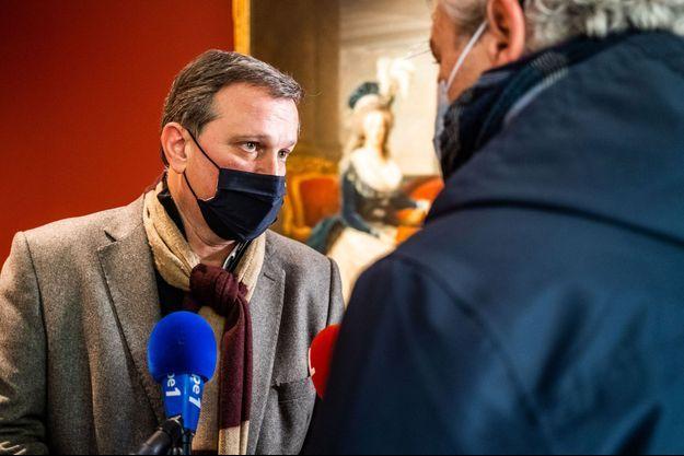 Louis Aliot mardi au musée Hyacinthe Rigaud, à Perpignan.