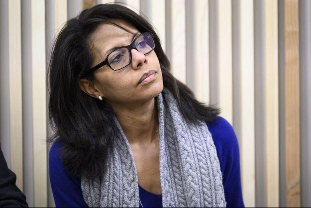 Audrey Pulvar lors d'une conférence de presse d'Anne Hidalgo, le 2 mars 2020.
