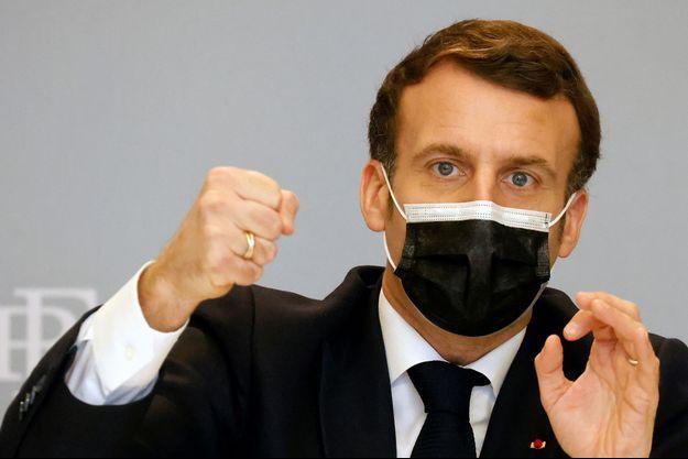 Emmanuel Macron, jeudi, lors d'une visioconférence sur les cyberattaques.