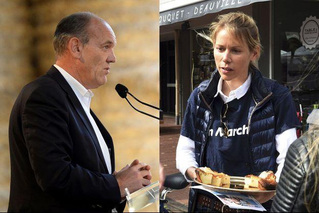 Daniel Fasquelle le 30 septembre à la Fête de la violette, en Sologne, et Tiphaine Auzière, en campagne pour Emmanuel Macron, le 6 avril au Touquet.