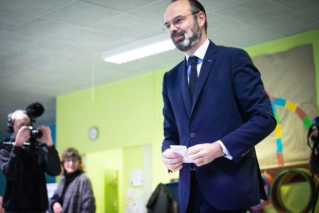Edouard Philippe au Havre lors du premier tour de l'élection municipale.