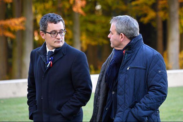 Gérald Darmanin et Xavier Bertrand à Thiepval en novembre 2018.
