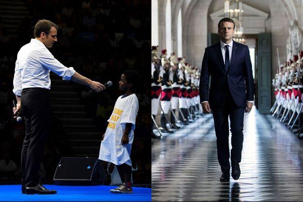 A gauche, le candidat Macron tend un micro à un enfant lors d'un meeting à Saint-Denis de La Réunion, en mars. A droite, le président Macron dans la galerie des Bustes à Versailles, avant son discours devant le Congrès, le 3 juillet.
