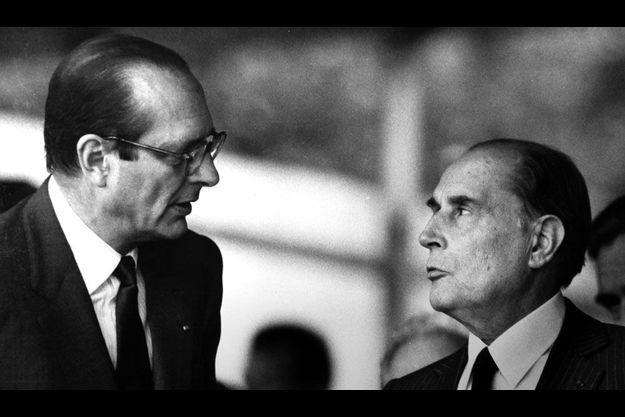 Jacques Chirac, Premier ministre, et François Mitterrand, président de la République, en 1987.