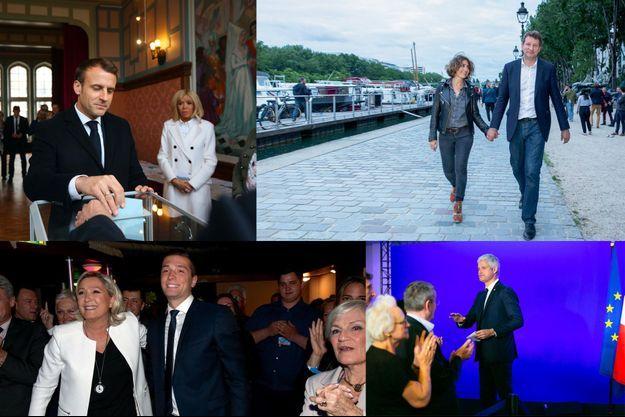 Emmanuel et Brigitte Macron au Touquet. Isabelle Saporta et Yannick Jadot à Paris. Marine Le Pen et Jordan Bardella à Paris. Laurent Wauquiez à Paris.