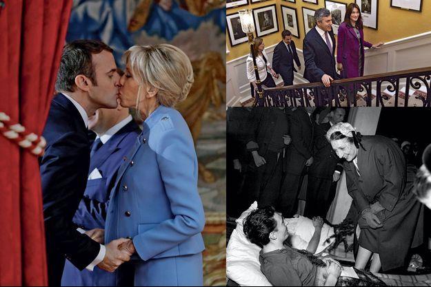 De g. à dr. : Emmanuel et Brigitte Macron en 2018, Nicolas et Carla Bruni-Sarkozy avec Gordon Brown et son épouse en 2008 et Michelle Auriol au chevet de soldats blessés en Indochine en 1951.