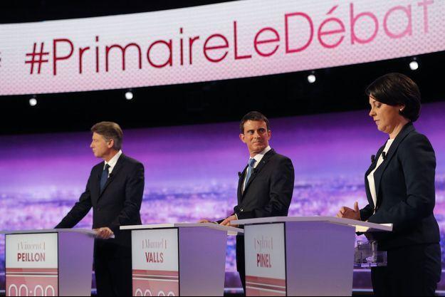 Vincent Peillon, Manuel Valls et Sylvia Pinel lors du premier débat de la primaire de la gauche.