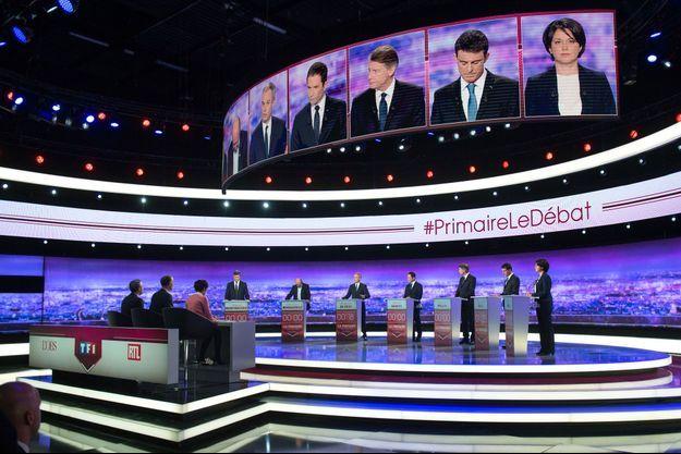 Sur le plateau du débat diffusé sur TF1, jeudi soir.
