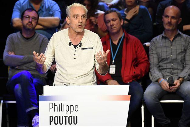 Philippe Poutou lors du deuxième débat de la présidentielle.