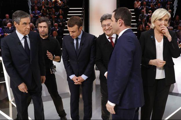 Les candidats à l'élection présidentielle participant au débat de TF1, lundi 20 mars.