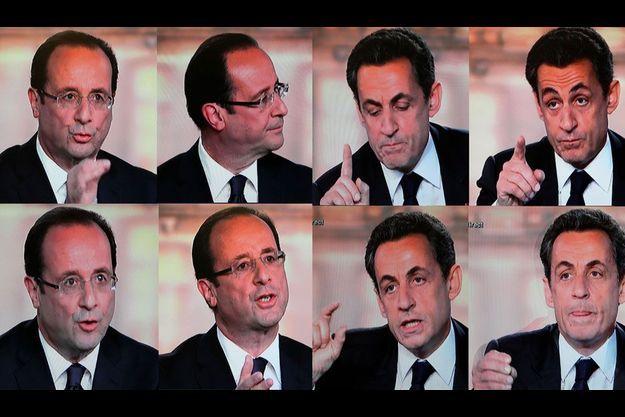 Quelques attitudes de François Hollande et Nicolas Sarkozy, mercredi soir.