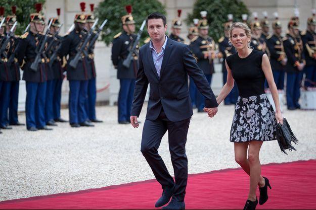 Tiphaine Auzière et son mari Antoine, le 14 mai à l'Elysée, jour de l'investiture du président Macron.