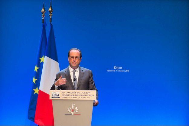 François Hollande lors du Congrès de l'union syndicale des magistrats.