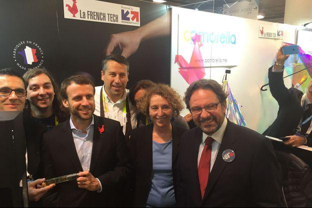 Emmanuel Macron et Muriel Pénicaud, à Las Vegas en janvier 2016.