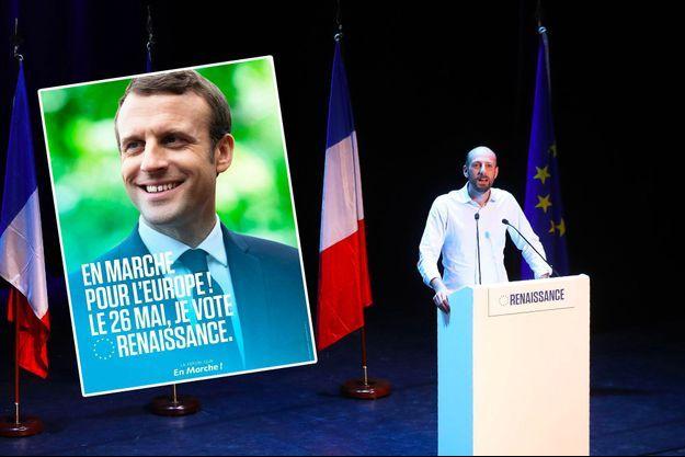 Stanislas Guerini lors d'un meeting de LREM le 6 mai, à Paris. En médaillon, l'affiche qui va être diffusée ce week-end.