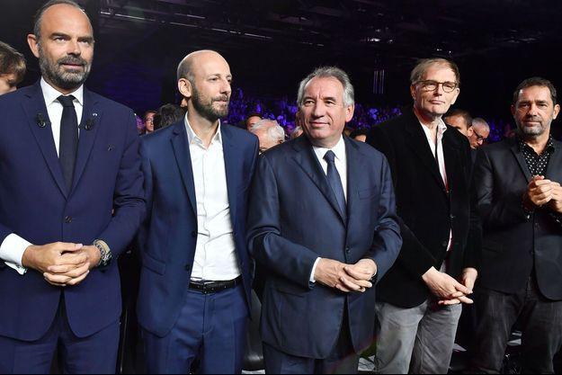 Edouard Philippe, Stanislas Guerini, François Bayrou, Philippe Grangeon et Christophe Castaner à Bordeaux dimanche 8 septembre.