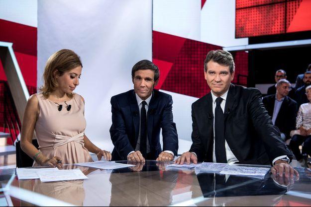 """Léa Salamé, David Pujadas et Arnaud Montebourg, jeudi soir, sur le plateau de """"L'Emission politique""""."""