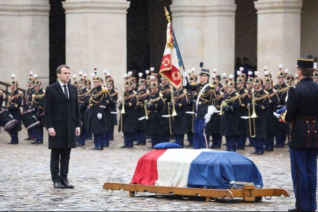 Emmanuel Macron lors de l'hommage national rendu à Arnaud Beltrame.