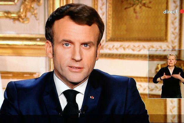 Emmanuel Macron lors de l'allocution télévisée.