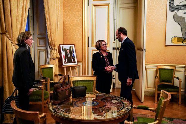 A Matignon le Premier ministre Edouard Phillippe reçoit la Présidente des Union Nationale des Associations Familiales, Marie Andrée Blanc le lundi 9 Décembre 2019.