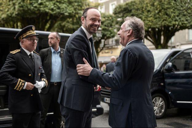 Edouard Philippe et François Bayrou à Pau samedi.