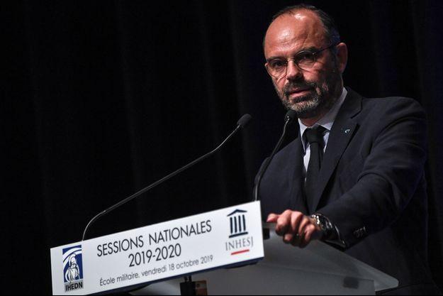 Edouard Philippe devant les instituts nationaux des hautes études de la sécurité, de la justice (INHESJ) et de la défense nationale (IHEDN).