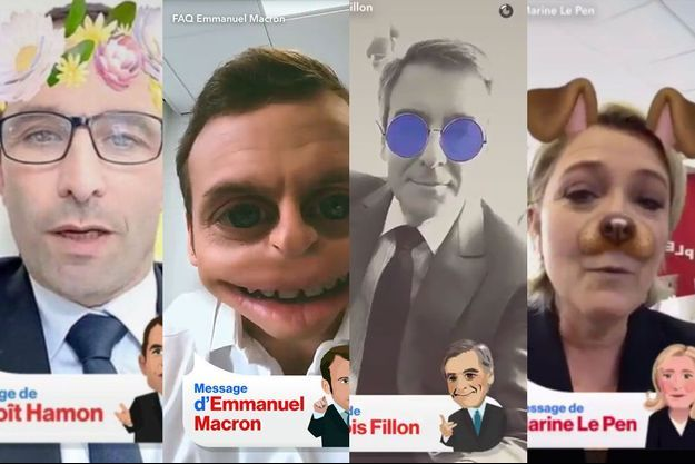 Pour s'adresser à la jeunesse, quatre candidats -Benoît Hamon, Emmanuel Macron, François Fillon et Marine Le Pen- ont choisi l'application Snapchat.