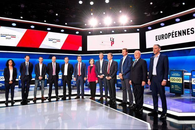 Les candidats aux élections européennes sur le plateau de France 2, jeudi.