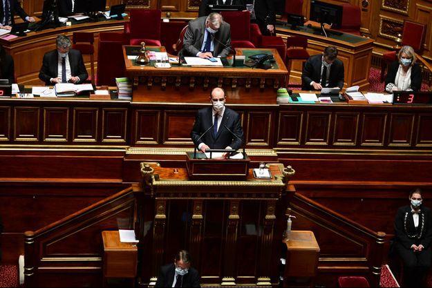 Jean Castex devant le Sénat jeudi.
