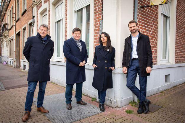 Autour de Karima Delli (EELV), le 26 mars à Lille, de g. à dr. : Fabien Roussel (PCF), Patrick Kanner (PS) et Ugo Bernalicis (LFI).