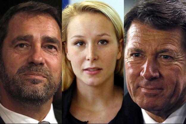 Le candidat socialiste Christophe Castaner, la candidate FN Marion Maréchal-Le Pen et le candidat LR, Christian Estrosi.