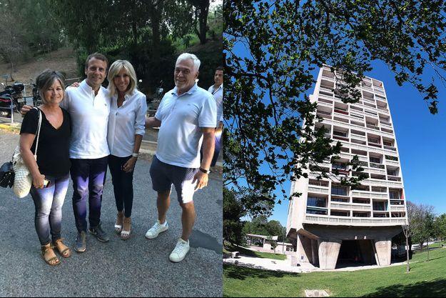 Emmanuel et Brigitte Macron posent avec Nathalie et Charles-Roger, habitants de la Cité radieuse, vendredi. A droite, une photographie du bâtiment construit par Le Corbusier, prise à l'occasion du 50ème anniversaire de sa mort en 2015.