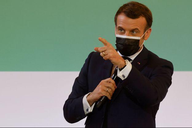 "Emmanuel Macron ici le 11 janvier lors ""One Planet Summit"" ."