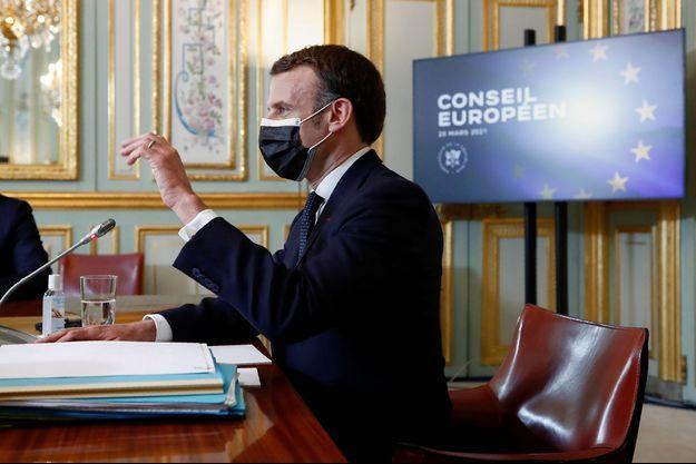 Le président de la République Emmanuel Macron à l'Elysée lors du Conseil européen.