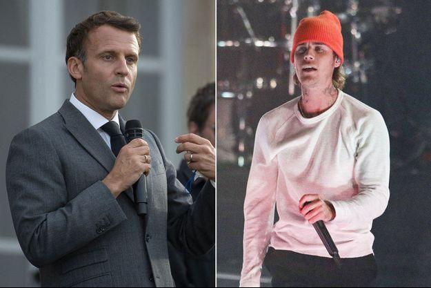 Emmanuel Macron lundi à l'Elysée et Justin Bieber, lors d'un concert à Atlanta en avril.