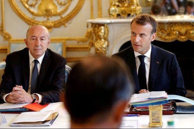 Gérard Collomb et Emmanuel Macron, à l'Elysée le 3 août.