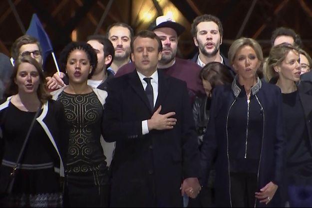 Emmanuel Macron lors de son discours au Louvre, le 7 mai.