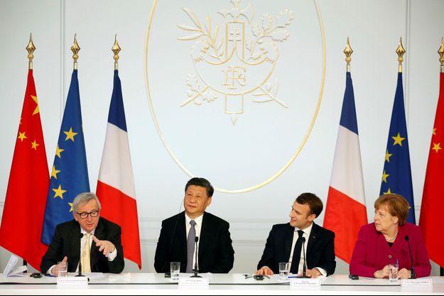 le président de la Commission européenne, Jean-Claude Juncker, Xi Jinping, Emmanuel Macron et Angela Merkel.