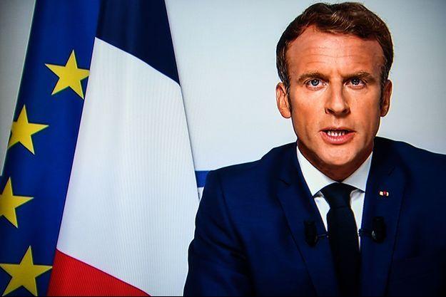 Emmanuel Macron lors de son allocution télévision du 16 août 2021.