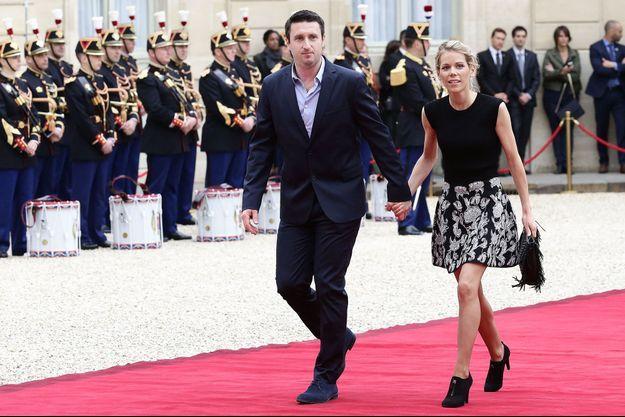 Tiphaine Auzière et son compagnon Antoine au Palais de l'Elysée le 14 mai 2017 pour la cérémonie d'investiture du président Emmanuel Macron.