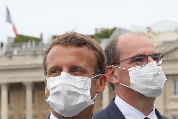 Emmanuel Macron et Jean Castex lors du défilé du 14 juillet 2020.