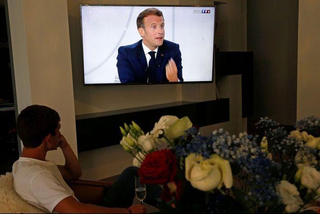 Emmanuel Macron lors de son intervention télévisée du 14 juillet 2020.