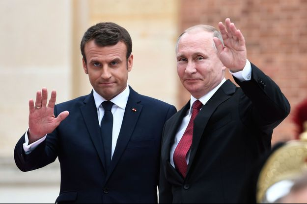 Emmanuel Macron et Vladimir Poutine en mai 2017.