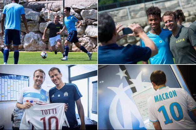 Emmanuel Macron a rendu visite mardi matin aux joueurs de l'Olympique de Marseille au centre d'entraînement du club.