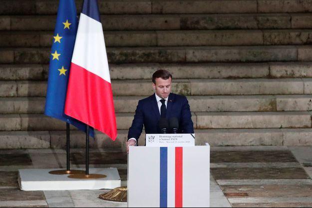 Emmanuel Macron lors de l'hommage à Samuel Paty.