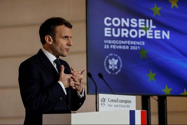 Emmanuel Macron jeudi à l'Elysée durant la conférence de presse.